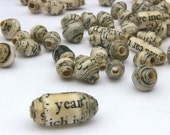 Recycled Paper Beads 30 pcs: Whole Whirld Poetry Assortment, Black and Cream Vintage Look MADE TO ORDER