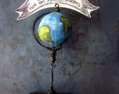 Paper Mache Keepsake: Miniature Papier Mache Globe Note & Photo Holder MADE to ORDER