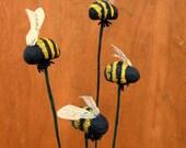 Paper Mache Bumblebees: Set of Four Decorative Papier Mache Bees on Stems