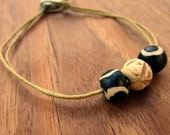 Bracelet: Loop and Bead Clasp Rustic Bone and Dyed Agate on Cord, Myth