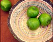 Big Paper Mache Bowl with Colorful Stripes and Texture: Free Spirit Bowl