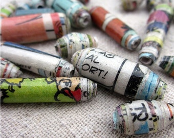 Paper Beads: Recycled Paper Beads Limited Edition 30 pcs, Whole Whirld Funnies Assortment MADE TO ORDER
