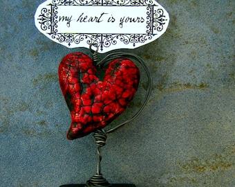 Paper Mache Keepsake: Miniature Tabletop Papier Mache Heart Note & Photo Holder, My Heart is Yours