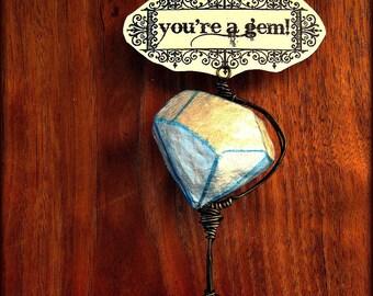 Paper Mache Diamond Keepsake Sculpture: Miniature Tabletop Note Photo Proposal Holder, You're a Gem