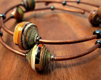 Memory Wire Bracelet: Beaded Adjustable Copper Wrap Bangle with Recycled Paper Beads, Solar System MADE to ORDER