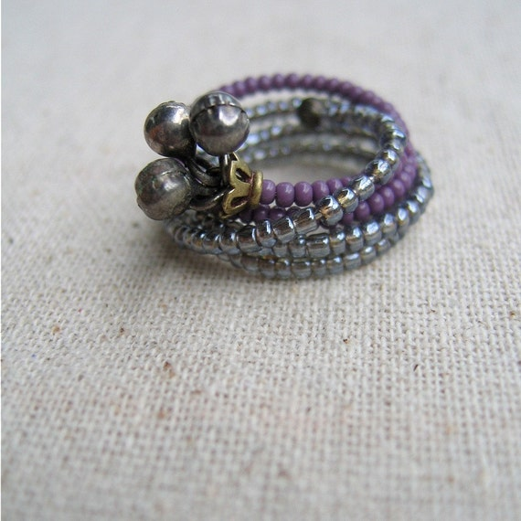 Large Beaded Memory Wire Wrap Ring in Purple with Silver Bell Charms: French Horn