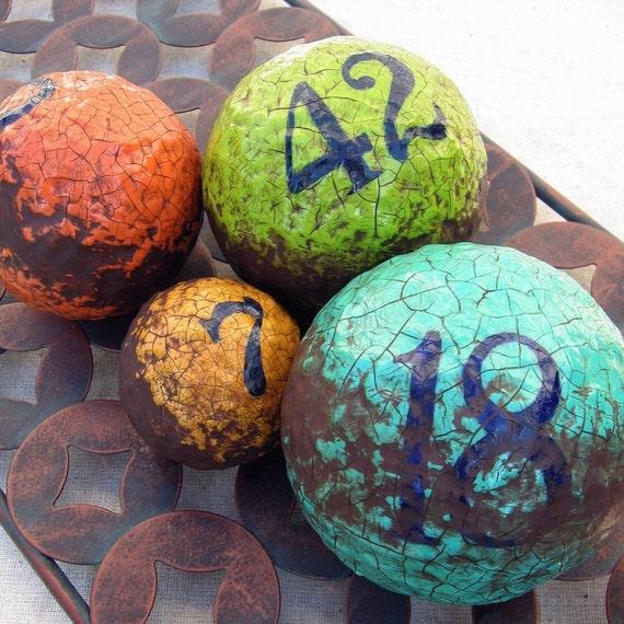 Paper Mache Decorative Balls: Rustic Crackled Papier Mache Gameballs Decorative Spheres