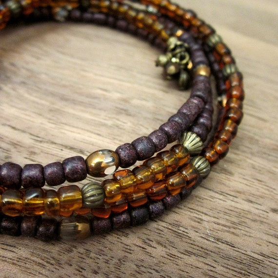 Bracelet: Adjustable Glass Beaded Memory Wire Wrap Bangle, Sheba