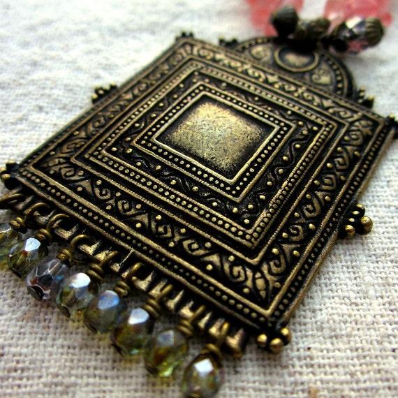 Necklace: Cherry Quartz and Glass Beaded Pendant, Naomi