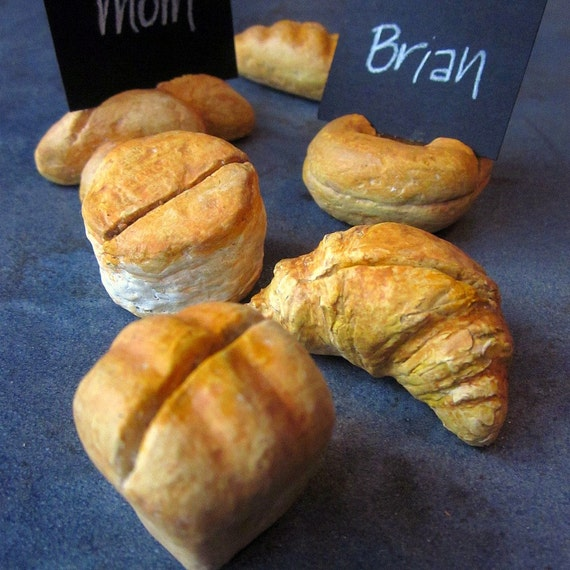 Place Card Holders: Set of Six Mini Bread Shaped, Les Pains