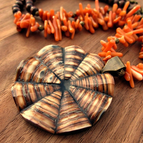 Necklace Beaded Adjustable Coral and Wood with Shell Pendant Sandpiper