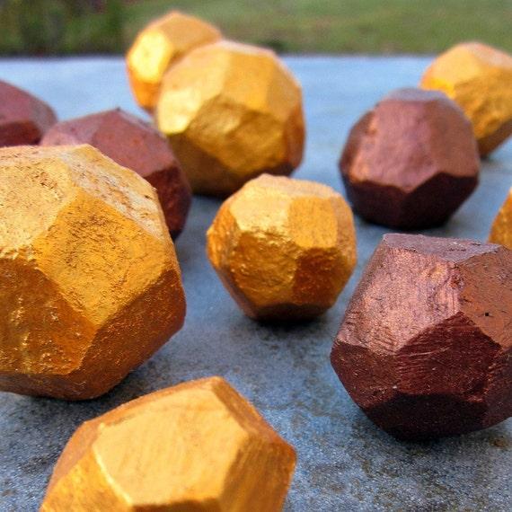 Decorative Handsculpted Gems Set of 12 in Gold and Copper Paper Mache