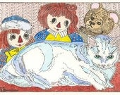 Raggedy Ann and Andy with Teddy and Kitty ACEO from Theodora