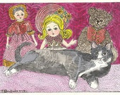 Cat Kitty Hitty Ginny Teddy Dolls ACEO by Theodora