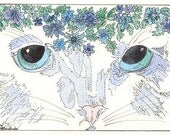 Cat Eyes  with Flowers  by Theodora