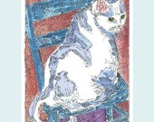 Little White Kitty on Her Blue Chair ACEO from Theodoradesigns