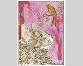 Maine Coon Cat Bird Original ACEO Signed Limited Edition Print  by Theodora