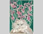 Persian Cat Siberian Iris ACEO by Theodora