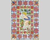Valentine FRAKTUR  Cupid , Hearts,and Flowers  ACEO from Theodora signed Limited Edition