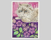 ACEO Persian Cat Floral Blanket by Theodora