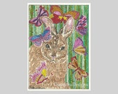 Bunny Rabbit Butterfly ACEO Signed Limited Edition Print by Theodora