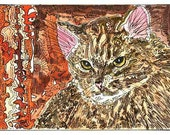 Main Coon Cat ACEO Signed Limited Edition by Theodora