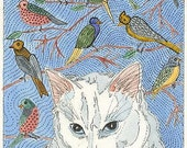 LITTLE KITTY DAYDREAMS ABOUT BIRDS ACEO from Theodora