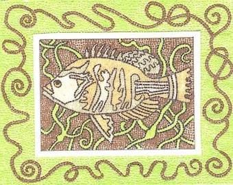 Golden MOSAIC FISH  By THEODORA