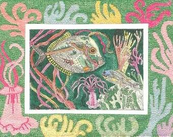 MOSAIC FISH Card or Print by THEODORA