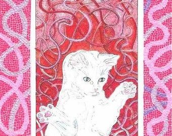 RED RIBBON KITTY DANCING WITH A MICRO PAPER MOSAIC BORDER