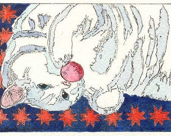Little Kitty Playing Ball ACEO Print from Theodora