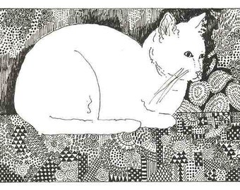 White Kitty Cat on Her Quilt ACEO by Theodora