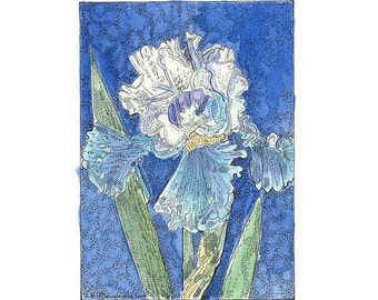 Blue and White IRIS ACEO from Theodora Signed Print