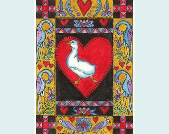 Fraktur  with Duck and Four Blue Heron ACEO  from Theodora