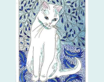 Kitty Cat in Blue and White Aceo by Theodora