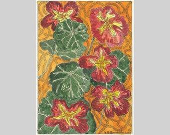 Nasturtiums Red Empress ACEO Flowers Orange by Theodora