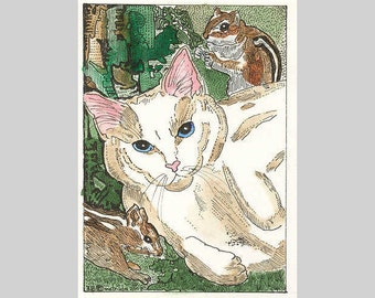 Kitty Cat with Two Chipmunks ACEO By Theodora