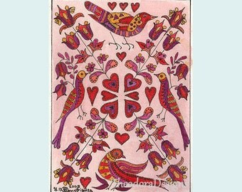 Birds and Flowers Fraktur from Theodora ACEO