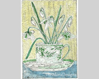 Snowdrops Flowers Art Original  ACEO Signed Limited Edition  print  from Theodora