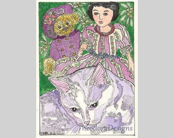 Kitty Hitty Teddy Purple Aceo Signed Limited Edition Original Print Theodora