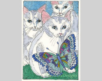 Cat Butterfly ACEO by Theodora Three Little Kittens