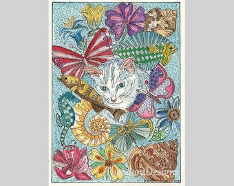 Kitty Cat  in Dreamland ACEO  Butterfly Seahorse shells Flowers Fish Signed Original Limited Edition Print by Theodora