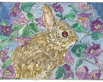 Little Bunny in the Bougainvillea ACEO Signed Limited Edition Print by Theodora