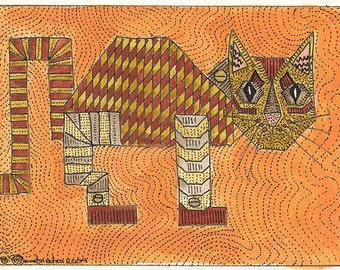 Robo Cat ACEO Signed Limited Edition Print by Theodora