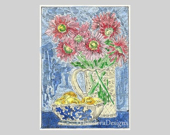 Flowers Blue and White Bowl Spring Bouquet ACEO Signed Limited ED Print by Theodora