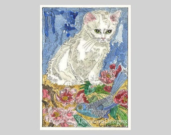 Little White Kitty Cat in the Garden ACEO Signed Limited Edition Print by Theodora