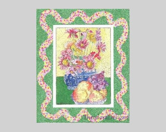 Spring Bouquet with a Micro Paper Mosaic Border Signed Limited Edition Print