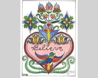 Fraktur Word Inspiration ACEO Signed Print by Theodora