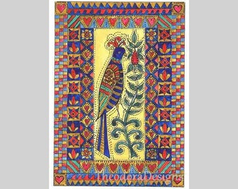 Fraktur Bird with Intricate Border Design ACEO Signed and Numbered Print by Theodora