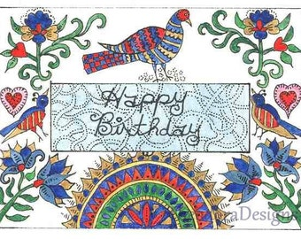 Fraktur Word Sign  Inspiration HAPPY BIRTHDAY  ACEO Signed Print by Theodora